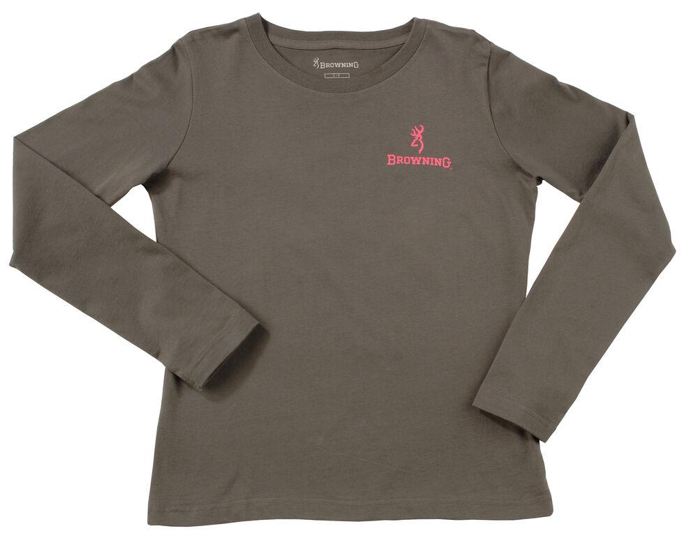 Browning Women's Grey and Fuchsia Buckmark Long Sleeve T-Shirt  , Charcoal Grey, hi-res