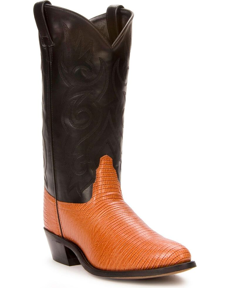 Old West Lizard Printed Cowboy Boots - Medium Toe, Cognac, hi-res