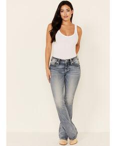 Miss Me Women's Button Flap Bootcut Jeans, Medium Blue, hi-res