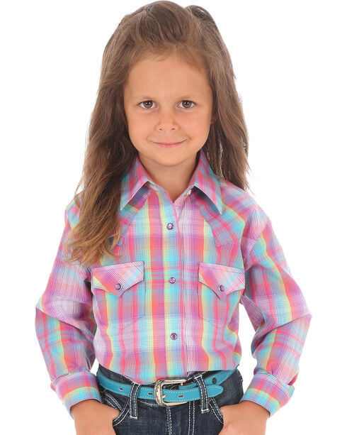 Wrangler Girls' Purple Plaid Long Sleeve Shirt , Multi, hi-res