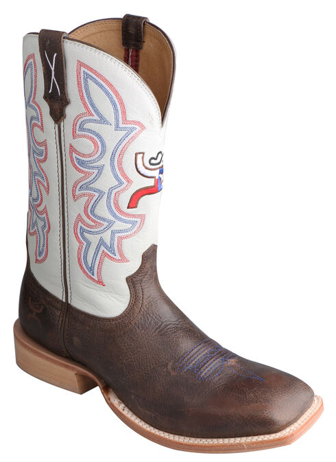Twisted X White Hooey Cowboy Boots - Square Toe, Brown, hi-res