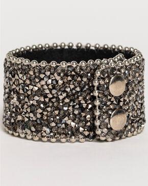 Shyanne Women's Silver Black Crystal Snap Cuff Bracelet, Black, hi-res