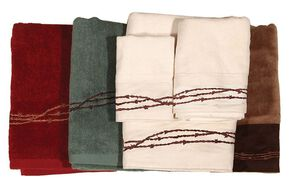 HiEnd Accents Three-Piece Embroidered Barbed Wire Bath Towel Set - Turquoise, Turquoise, hi-res
