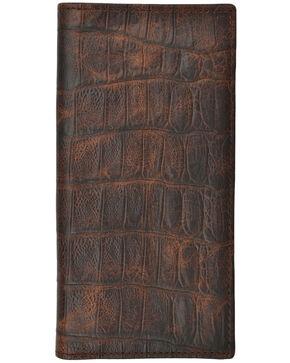 3D Men's Croc Embossed Basic Rodeo Wallet, Brown, hi-res