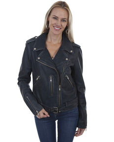 Leatherwear by Scully Women's Black Belted Motorcycle Jacket, Black, hi-res