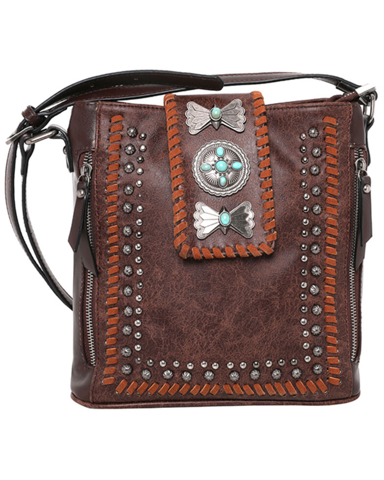 Montana West Women's Wrangler Butterfly Concho Crossbody Bag, Coffee, hi-res