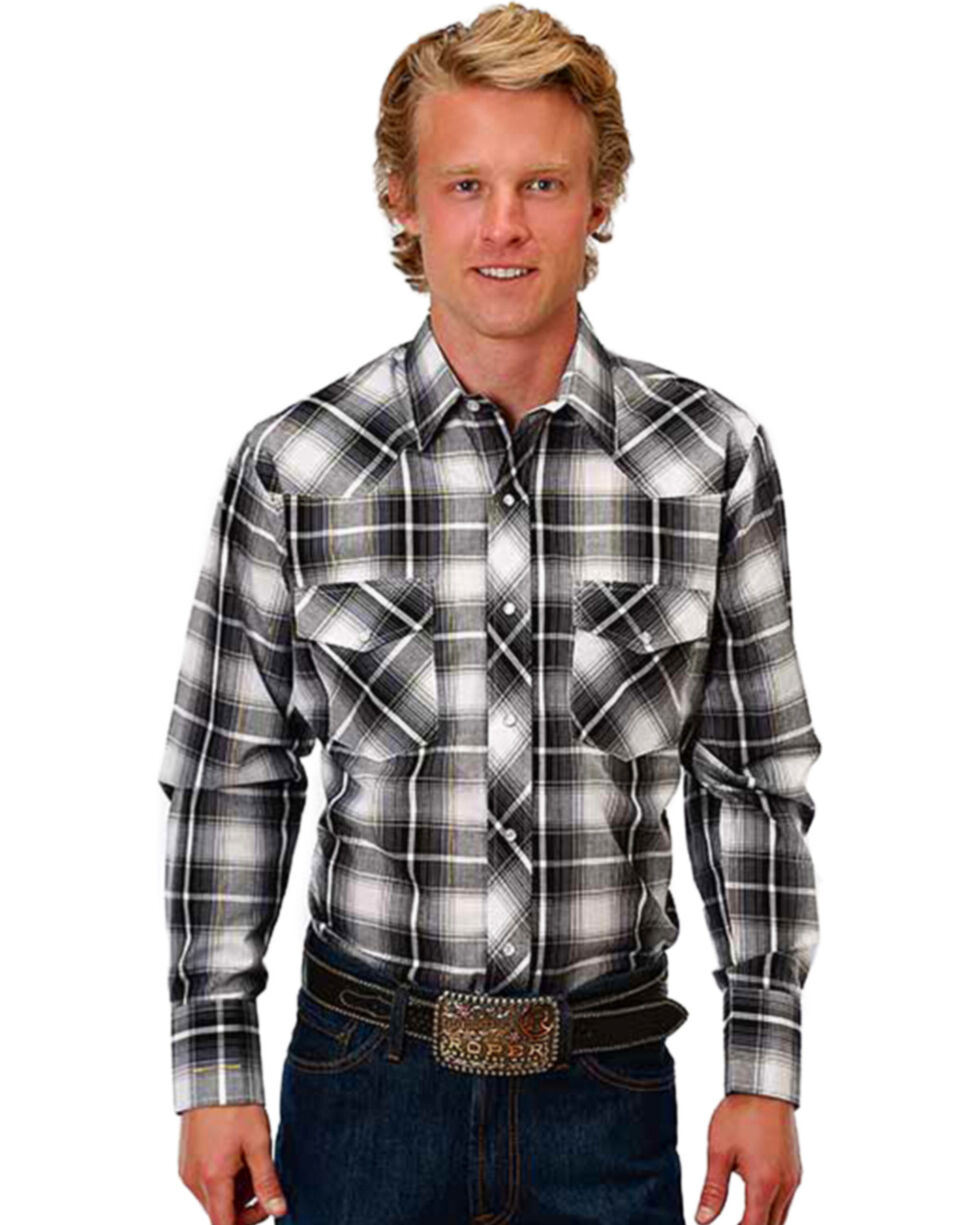 Roper Men's Black Plaid Ombre Lurex Western Shirt , Black, hi-res