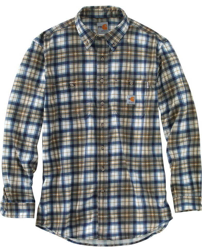 Carhartt Men's Flame Resistant Blue Brown Classic Plaid Shirt - Big & Tall, Med Brown, hi-res