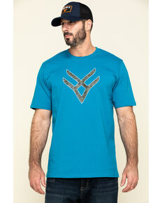 Hawx Men's Teal Fractal Camo Logo Graphic Work T-Shirt , Teal, hi-res