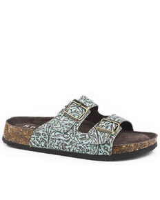 Roper Women's Turquoise Embossed Leather Sandals, Green, hi-res