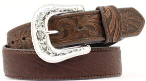 Bullhide & Tooled Leather Belt, Brown, hi-res
