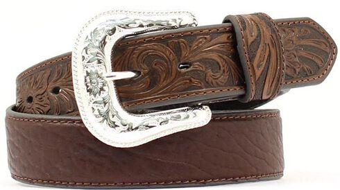 Bullhide & Tooled Leather Belt, Brown, hi-res
