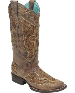 Corral Studded Cross & Wing Inlay Cowgirl Boots - Square Toe, Brown, hi-res