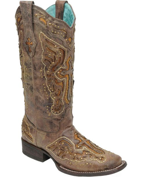 Corral Studded Cross & Wing Inlay Cowgirl Boots - Square Toe, , hi-res