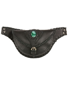 Milwaukee Leather Women's Stone Inlay & Gun Holster Braided Leather Hip Bag, Black, hi-res