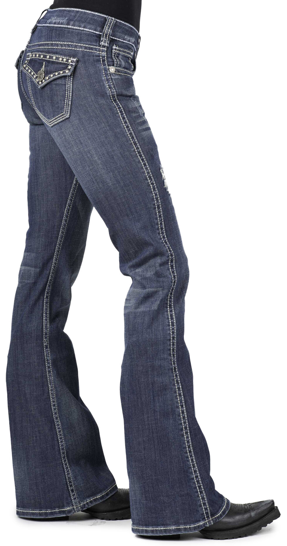 Stetson Women's 816 Classic Fit Studded Flap Pocket Jeans, Denim, hi-res