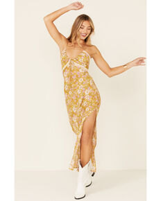Free People Women's All I Wanted Maxi Slip Dress, Mustard, hi-res