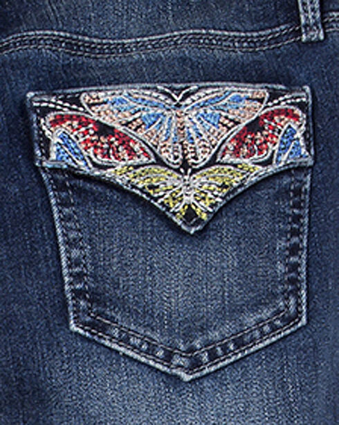 Miss Me Girls' Indigo Butterfly Embellished Jeans - Boot Cut , Indigo, hi-res