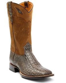 Moonshine Spirit Men's Stone Tully Crocodile Print Western Boots - Square Toe , Light Grey, hi-res