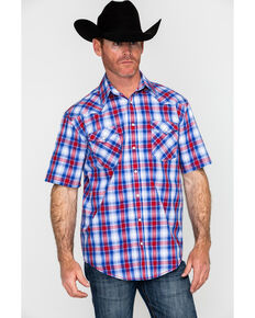 Rough Stock By Panhandle Oak Creek Vintage Ombre Plaid Short Sleeve Western Shirt , Blue, hi-res
