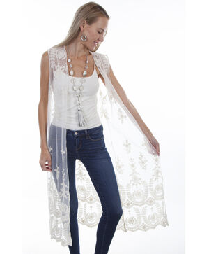 Honey Creek by Scully Women's Ivory Lace Duster, Ivory, hi-res