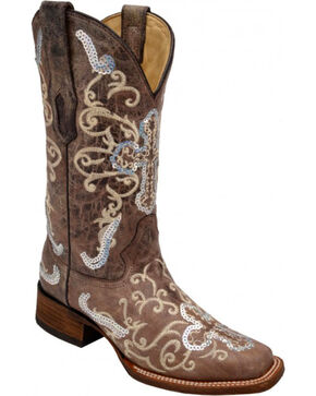 Corral Silver Sequin Cross Cowgirl Boots - Square Toe, Tobacco, hi-res