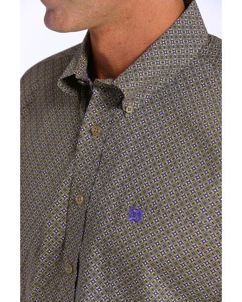 Cinch Men's Tan & Purple Geometric Print Short Sleeve Button Down Shirt, Tan, hi-res