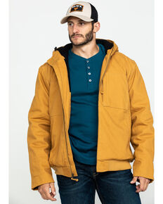 Hawx Men's Brown Canvas Quilted Bi-Swing Hooded Zip Front Work Jacket , Brown, hi-res