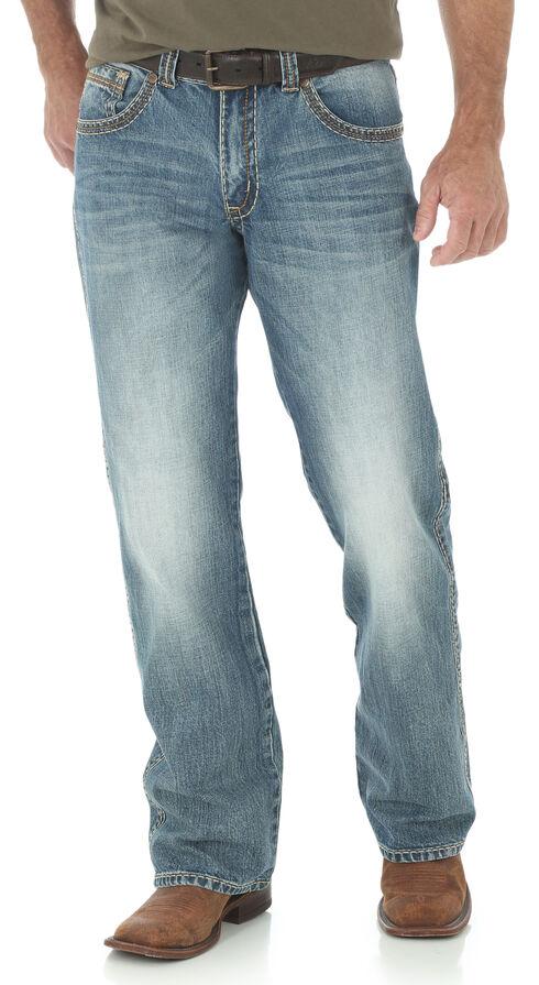 Wrangler Rock 47 Men's Relaxed Boot Cut Light Wash Jeans, Indigo, hi-res