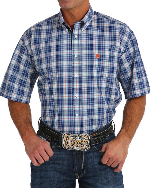 Cinch Men's Navy Plaid Short Sleeve Button Down Shirt, Navy, hi-res