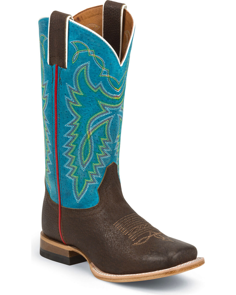 Justin Boys' Blue Luckenbach Cowboy Boots - Square Toe, Blue, hi-res