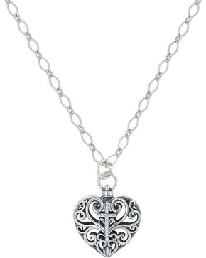 Sterling Lane Women's Heart Full Of Faith Cross Necklace , Silver, hi-res