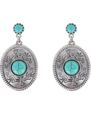 Shyanne Women's Dangling Concho Earrings, Turquoise, hi-res