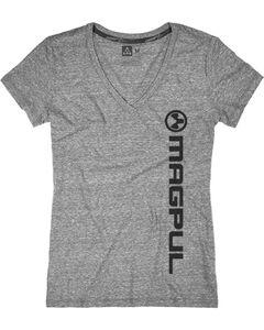 Magpul Women's Megablend V-Neck Vert Logo T-Shirt , Heather Grey, hi-res