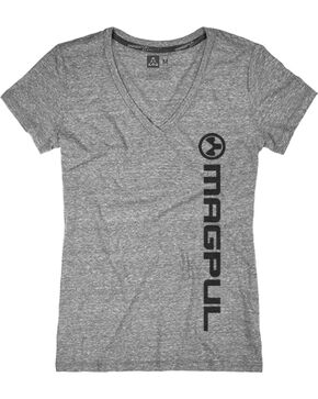 Magpul Women's Megablend V-Neck Vert Logo T-Shirt , Heather Grey, hi-res