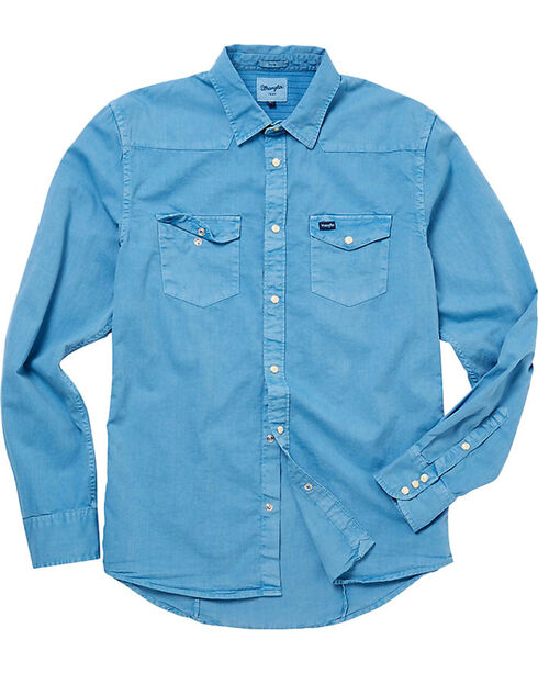 Wrangler Men's 70th Anniversary Slim Fit Solid Western Shirt, Blue, hi-res
