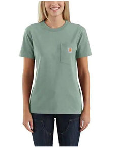 Carhartt Women's Bay Green Pocket Short Sleeve Work T-Shirt, Heather Green, hi-res