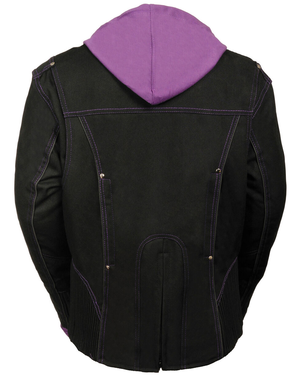 Milwaukee Leather Women's 3/4 Jacket With Reflective Tribal Decal, Black/purple, hi-res