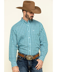 Ariat Men's Wrinkle Free Verdon Small Plaid Long Sleeve Western Shirt - Tall, Multi, hi-res