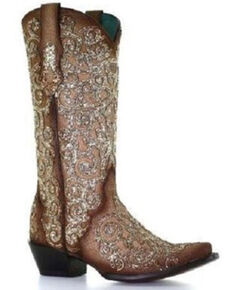 Corral Women's Bone Lamb Glitter Overlay & Embroidery Cowgirl Boots - Snip Toe, Natural, hi-res