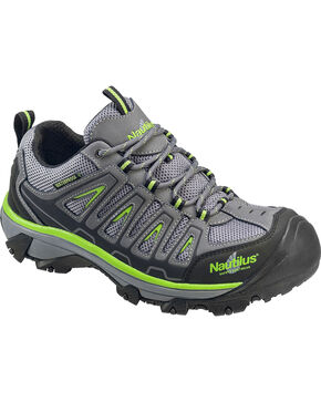 Nautilus Men's Grey and Neon Yellow Waterproof Low-Top Work Shoes - Steel Toe , Grey, hi-res