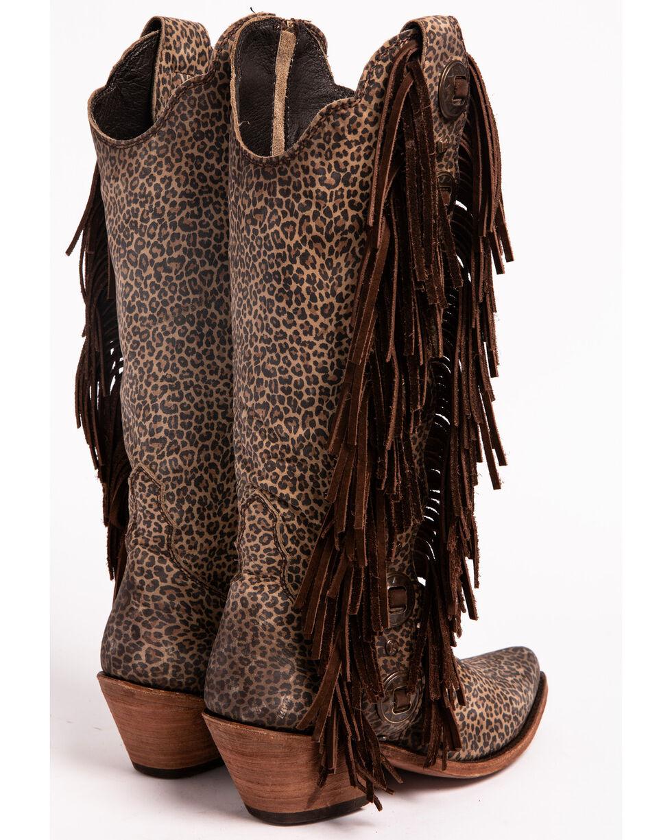 Liberty Black Women's Jaguar Print Studded Fringe Boots - Medium Toe, Multi, hi-res
