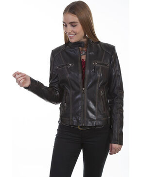 Scully Women's Black Leather Zip Jacket, Black, hi-res