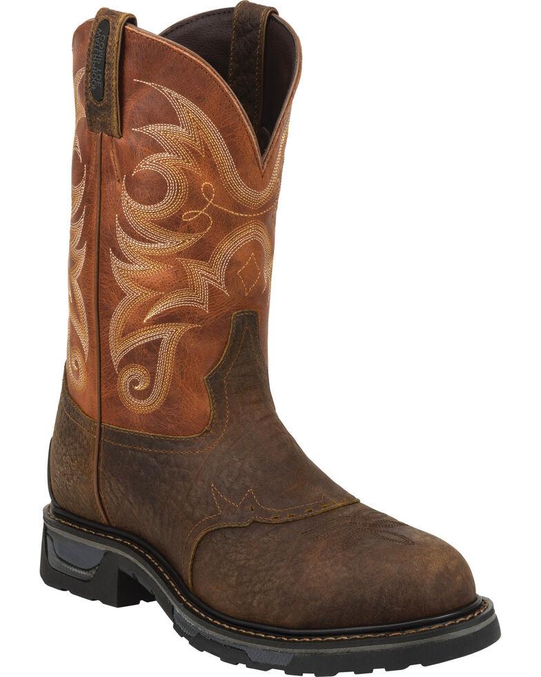 Tony Lama Sierra Badlands Waterproof TLX Performance Western Work Boots - Comp Toe, Brown, hi-res