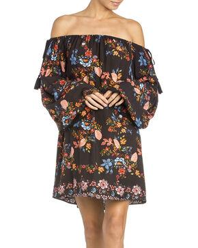 Miss Me Women's Black Off-The-Shoulder Flounce Dress , Black, hi-res