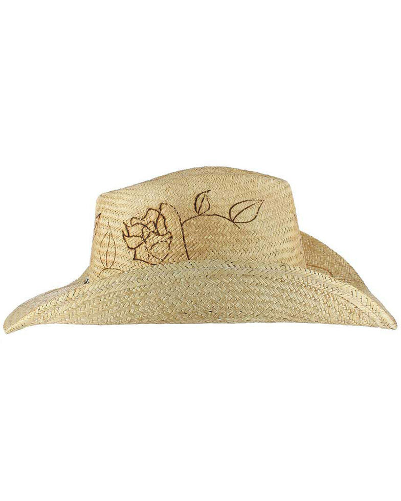Shyanne Women's Floral Branded Cowgirl Hat, Tan, hi-res