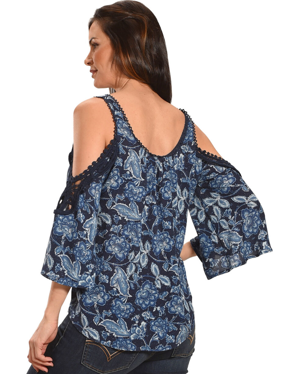 Luna Chix Women's Navy Floral Crochet Cold Shoulder Top, Navy, hi-res