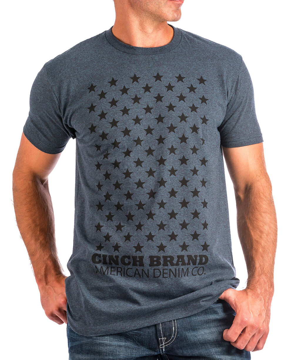 Cinch Men's Navy Star Print Short Sleeve Tee , Navy, hi-res