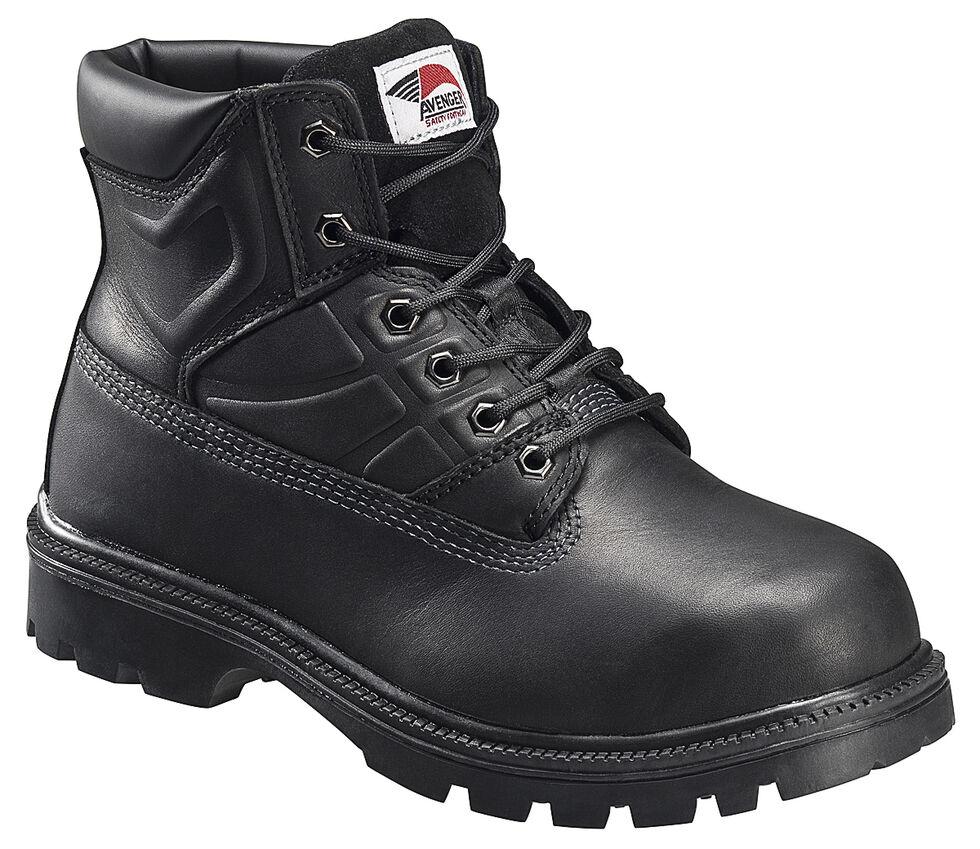 Avenger Men's Black EH Lace-Up Work Boots - Steel Toe, Black, hi-res