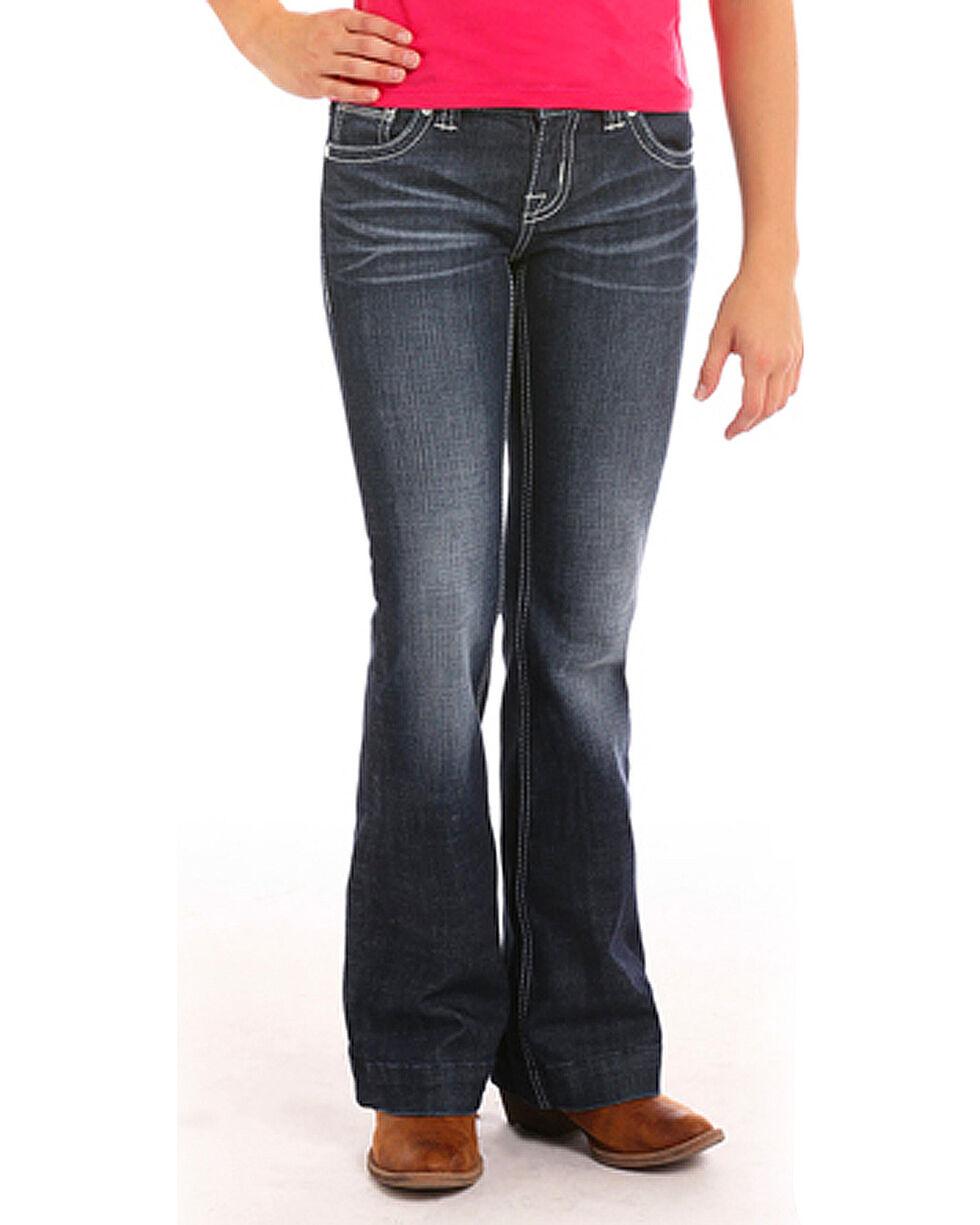 Rock & Roll Cowgirl Girls' (4-16) Diamond Stitch Trouser Jeans - Boot Cut , Indigo, hi-res